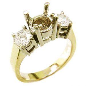 Gold semi mount 2 side diamonds