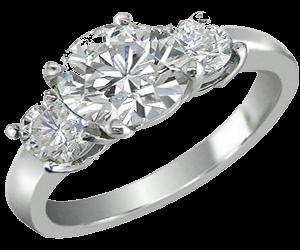 round three prong diamond ring